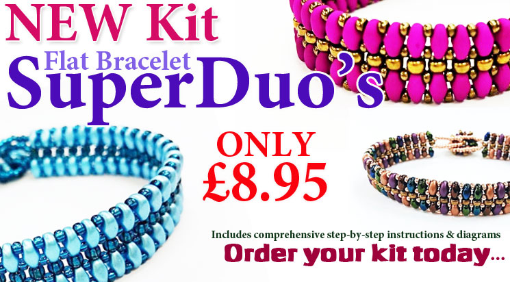 New Flat SuperDuo Bracelet Beadwork Kit