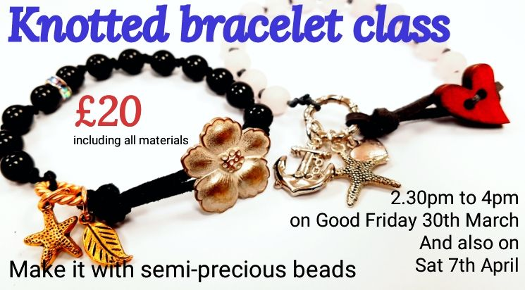 Knotted bracelet with semi-precious stones workshop for beginners