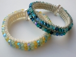 All Seasons Crystal Cuff, Beadwork Bracelet Kit with SWAROVSKI crystal beads Aqua and lemon